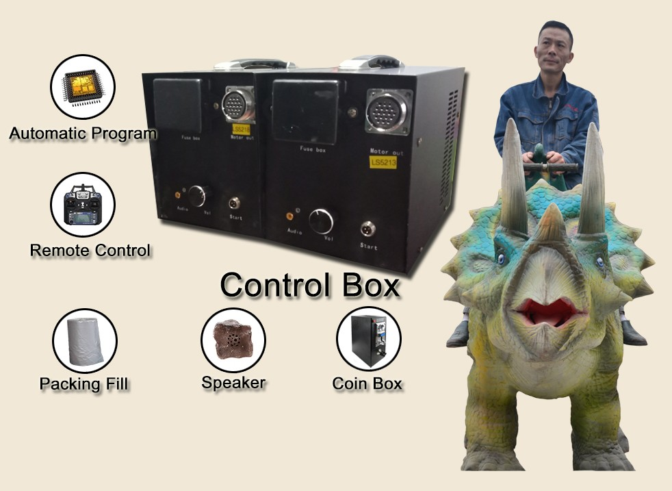 Animatronic dinosaur rides  with coin operated machine