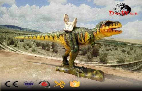 Animatronic dinosaur rides with coin-operated machine