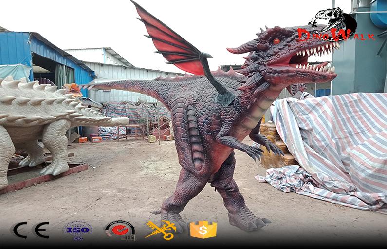 real size animal mascot adult walking dinosaur dragon costume