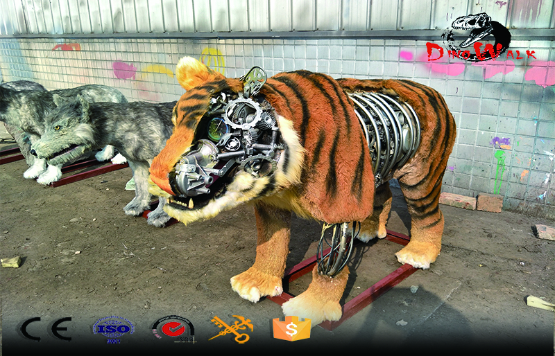 cool looking customized animatronic tiger with gear on the side