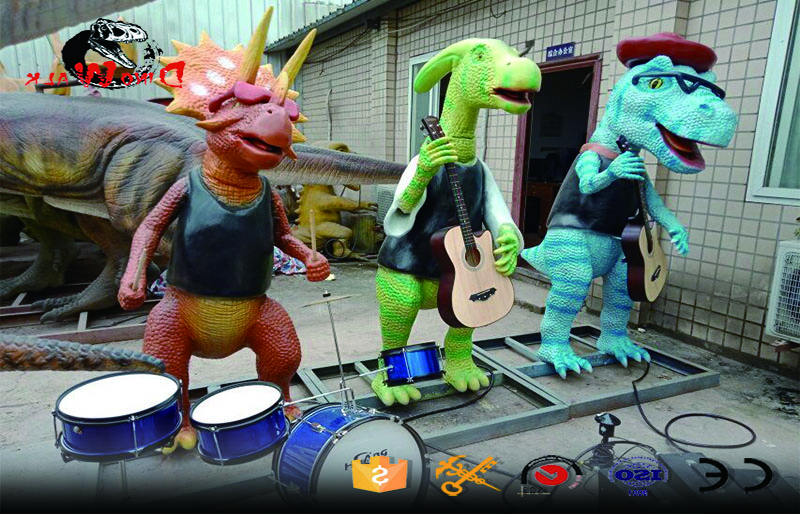 new cartoon style singing dinosaur band for amusement park
