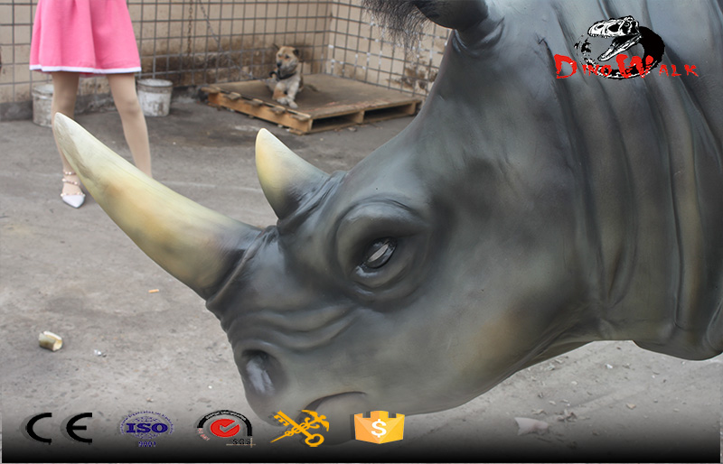 animal simulation series fiberglass rhino for out door decoration