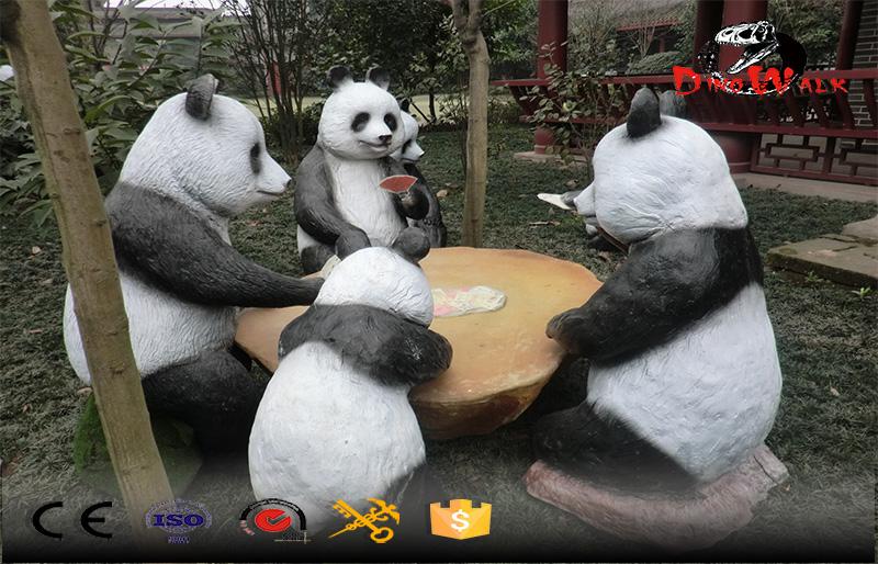 out door fiberglass statue,pandas playing Majiang