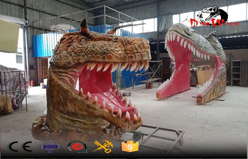Gigantic fiberglass dinosaur's head amusement park