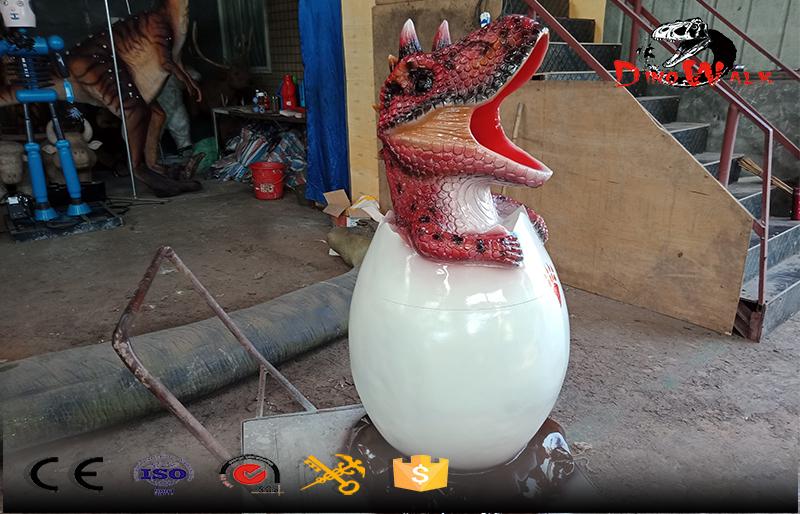 red dinosaur shape fiberglass trash cans