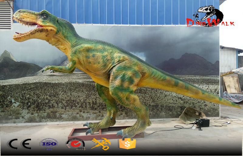 small size animatronic T-rex color green with cool movement
