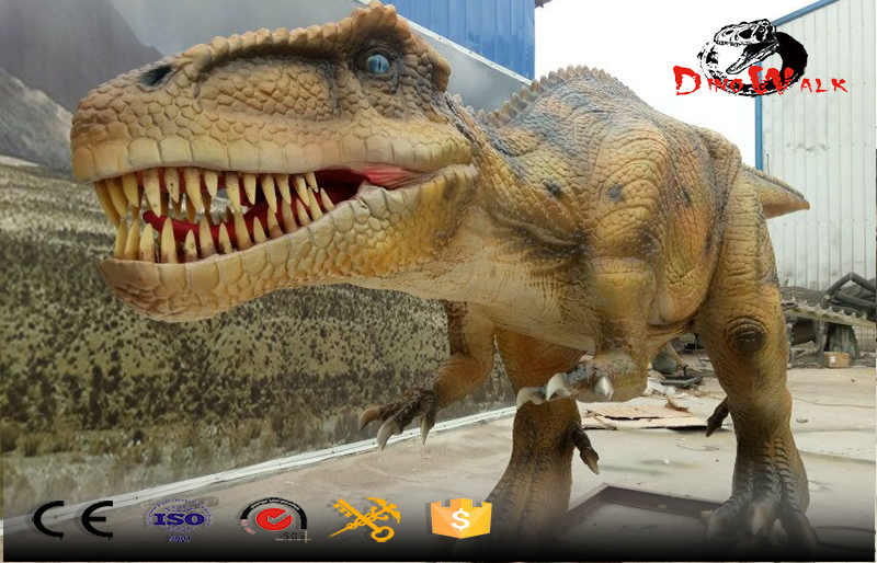 small size animatronic T-rex color yellow movement simulation