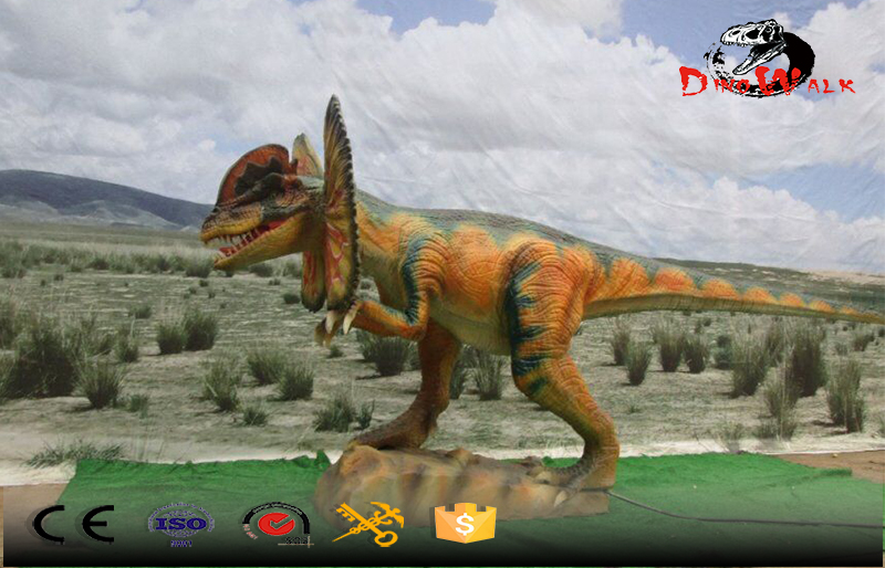 Colore yellow Dilophosaurus outdoor simulation animatronic dinosaure