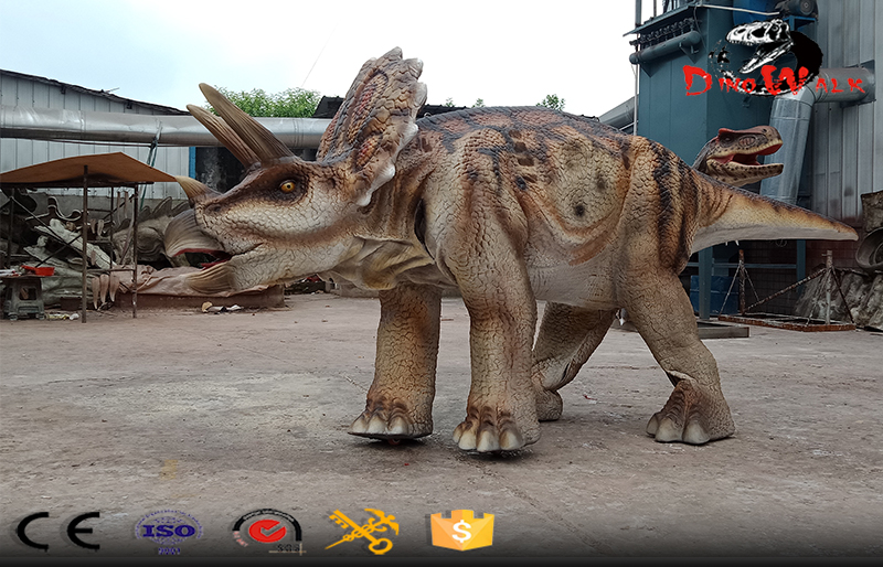 walking with animatronic Triceratops costume for one actor